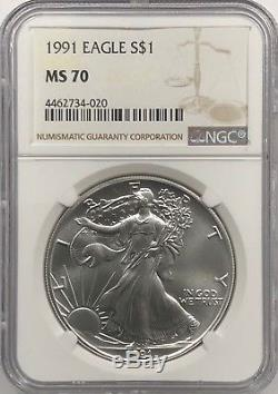1991 Ngc Ms70 Silver American Eagle Mint État 1 Oz. 999 Lingots Fins