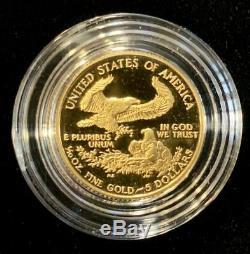 1991-p 1/10 Oz D'or American Eagle Proof Withbox & Coa Capsule Ket Date De Mint