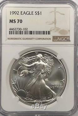 1992 Ngc Ms70 Silver American Eagle Mint État 1 Oz. 999 Lingots Fins