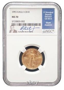 1993 Eagle G $10 Ngc Ms 70 Coin. Signé Par Rhett Jespon, Directeur De La Monnaie
