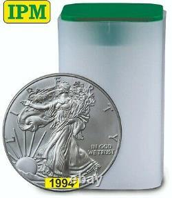 1994 1oz American Silver Eagles $1 Bu Coins Lot, Tube, Roll Of 20
