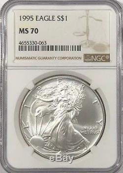 1995 Ngc Ms70 Silver American Eagle Mint État 1 Oz. 999 Lingots Fins