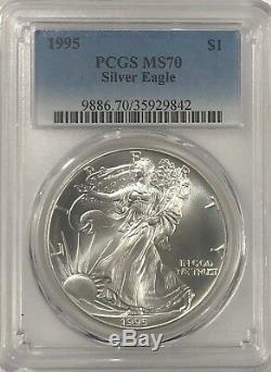 1995 Pcgs Ms70 Silver American Eagle État Mint 1 Oz. 999 Lingots Fins