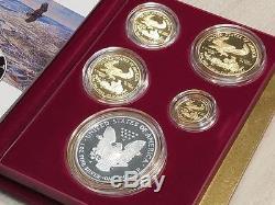 1995 W Proof Gold Et Silver American Eagles 10e Anniversaire, 5 Pièces, Us Mint