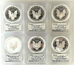 1995-p À 2000-p Graveur De Menthe Silver Eagles-pcgs Pr70-mercanti-sequenced Series