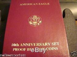 1995-w Gold Silver Eagle 10th Anniv. 5 Capsules De Pièces De Monnaie Mintogp & Capsules De Pièces