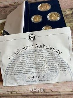 1995-w Proof American Eagle D'or 1,85 Oz Mint 4- Coin Coffret & Coa