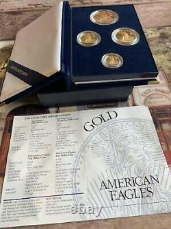 1995-w Proof American Gold Eagle 1,85 Oz 4- Mint Coin Set & Box & Coa