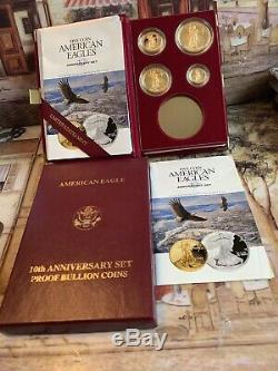 1995w Preuve Américaine Gold Eagle 5 Pièces Coffret Monnaie, Coa, Feuille D'or No Silver Coin