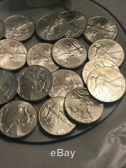 1996 American Silver Eagle Nice Roll Lot De 20 Pièces À La Menthe Tube 1 Oz Chaque Date Clé