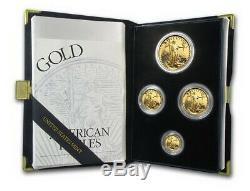 1996 Us Mint 4 Proof Set D'or American Eagle Avec Box & Coa Livraison Gratuite