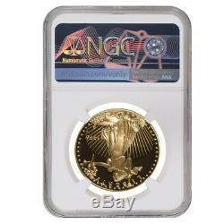 1996 W 50 Oz $ 1 Preuve D'or American Eagle Ngc Pf 68 Ucam Erreur Mint Rev Struck