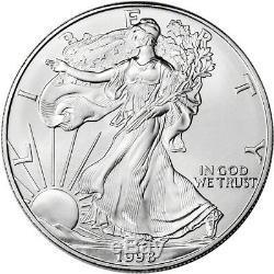 1998 American Silver Eagle (1 Oz) 1 $ 1 Rouleau Vingt Pièces De 20 Bu Dans Un Tube À La Menthe