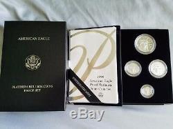 1998-w Platinum American Eagle Proof Set Quatre Pièces 1.85 Oz. Avec Boîte À Menthe Coa