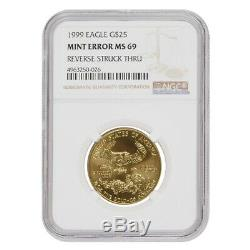 1999 1/2 Oz 25 $ D'or American Eagle Ngc Ms 69 Erreur Menthe (rev Struck Thru)