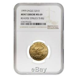1999 1/4 Oz $ 10 Or American Eagle Ngc Ms 69 Erreur Menthe (rev Struck Thru)