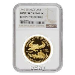 1999 W 50 Oz $ 1 Preuve D'or American Eagle Ngc Pf 69 Ucam Erreur Mint Rev Struck