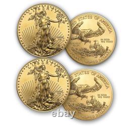 1 Oz American Gold Eagle $50 Coin Bu Random Year Us Mint Lot De 2