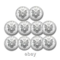 1 Oz American Silver Eagles $1 Bu Coins (random Year) Lot De 10
