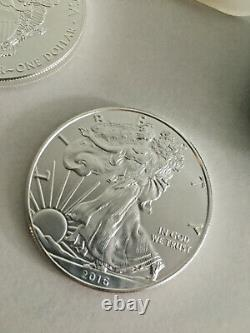 1 Oz Silver American Eagle (2016) 1 $ Pièce En Mint Bu (tube De Rouleau De 20)