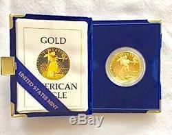 1ère Édition 1986 Coffret De Présentation 1 Pièce En Or Eagle Proof Avec Pièce De Monnaie Américaine De 50 $