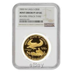 2000 W 50 Oz $ 1 Preuve D'or American Eagle Ngc Pf 69 Ucam Erreur Mint Rev Struck