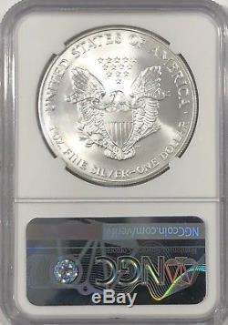 2001 Ngc Ms70 Silver État American Eagle Mint 1 Oz. 999 Lingots Fins