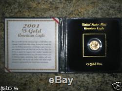 2001 Us $ Us Monnaie Américaine Bu De 5 $ En Or