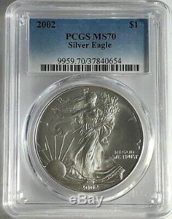 2002 Gpc Ms70 Argent American Eagle Mint État 1 Oz. 999 Beaux Bullion