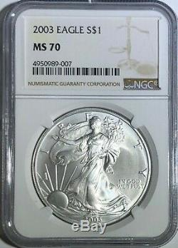 2003 Ngc Ms70 Silver American Eagle Mint State 1 Oz 999 Lingots Fins