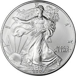 2005 American Silver Eagle (1 Oz) 1 $ 1 Rouleau Vingt Pièces De 20 Bu Dans Un Tube À La Menthe