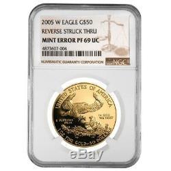 2005 W 1 Oz 50 $ Proof Gold Eagle Américain Ngc Pf 69 Erreur Monnaie (rev Struck Thru)
