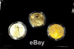 2006 20ème Anniversaire Américain Gold Eagle Proof / Unc 3 Piece Set U. S. Coin Mint