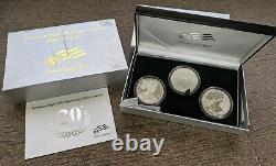 2006 American Mint Silver Eagle 3-coin Proof/reverse Mint Set 20th Anniv Ogp