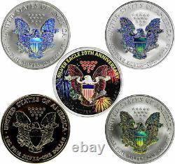 2006 Morgan Mint 20th Anniversary Silver Eagle 5 Coin Set Avec Boîtier Et Aco