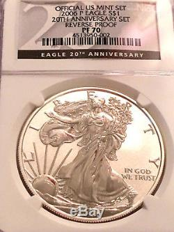 2006 P Ngc Pf70 Silver Eagle Ensemble 20 Ans Anniversaire U. S. Mint