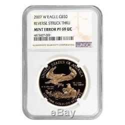 2007 W 50 Oz $ 1 Preuve D'or American Eagle Ngc Pf 69 Ucam Erreur Mint Rev Struck