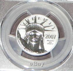 2007 W Platinum Eagle Preuve Inverse De La Preuve Anniversaire 50 $ Pcgs Pr70 West Point Menthe