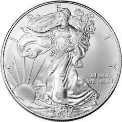 2008 American Silver Eagle (1 Oz) 1 $ 1 Rouleau Vingt Pièces De 20 Bu Dans Un Tube À La Menthe