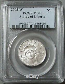 2008 W Platinum 50 $ Eagle Pièces De Monnaie Polies A L'état Brun 70