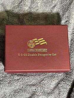 2008 W Us Mint 8-8-08 Double Prosperity Gold Coin Set 1/2 Oz Buffalo & Eagle