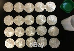 2009 American Silver Eagle 1 $ 1 Oz Silver 20 Coin Mint Tube