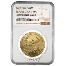 2010 1 Oz 50 $ Or American Eagle Ngc Ms 69 Erreur Mint (rev Frappé Thru)