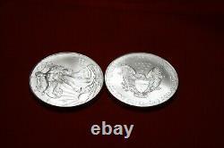 2010 1oz American Silver Eagle-lot, Rouleau De 20 Pièces De 1 $ En Tube Originaire