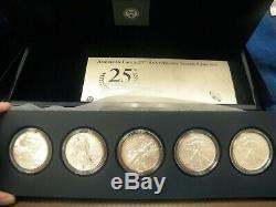 2011 25e Anniversaire D'argent American Eagle 5 U. S. Ensemble De Pièces Monnaie Coa