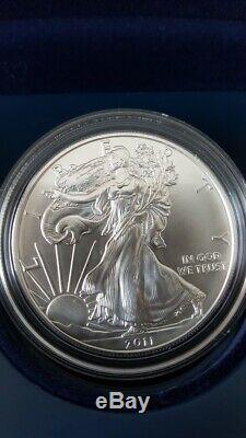 2011 25e Anniversaire D'argent American Eagle Set 5 Coin U. S. Mint Ogp & Coa