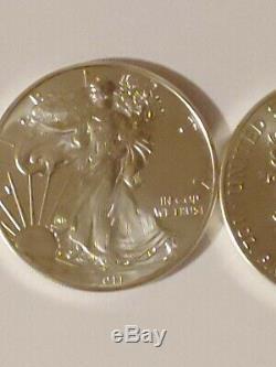 2011 American Silver Eagle (1 Oz) $ 1 1roll. 20 Pièces Bu À La Menthe Tube