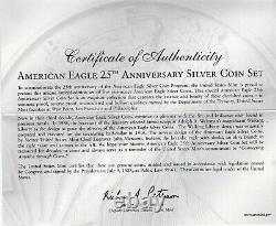 2011 États-unis Mint American Eagle 25th Anniversary Silver 5 Coin Set