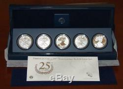2011 Silver American Eagle 25th Anniversary, 5 Pièces, Us Mint (a25)
