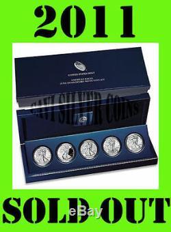 2011 Us Mint 25th Anniversary Set De 5 Pièces American Silver Eagle De Sealed Box
